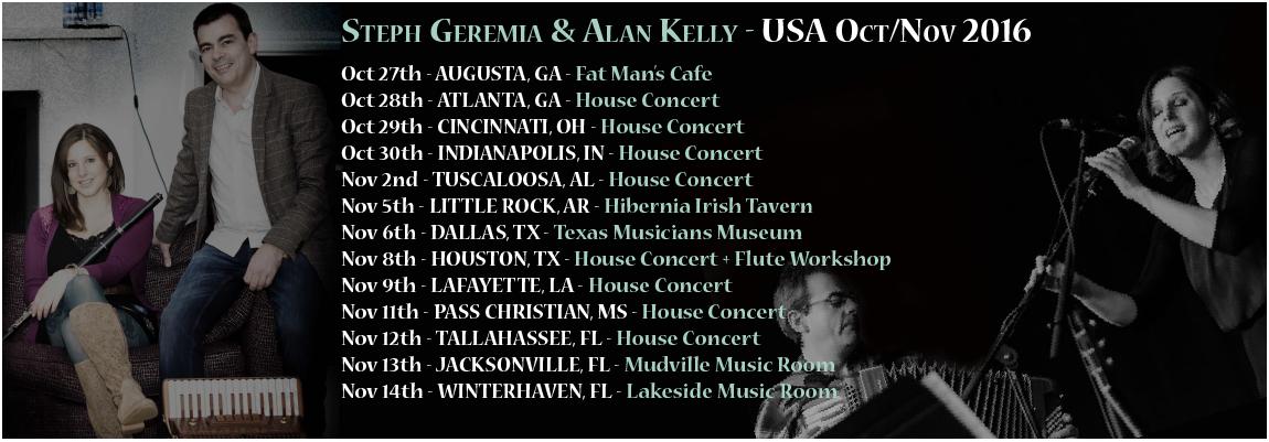 Alan Kelly & Steph Geremia USA Tour Dates Oct/Nov 2016